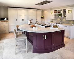 Give your kitchen a stylish makeover with solid oak kitchen cabinets painted in Farrow & Ball's Brinjal. This punchy paint colour is water-based and low-odour, making it the ideal choice for use within the home. http://www.solidwoodkitchencabinets.co.uk/cabinets_blog/colours-month-autumnal-shades-solid-oak-kitchen-cabinets/