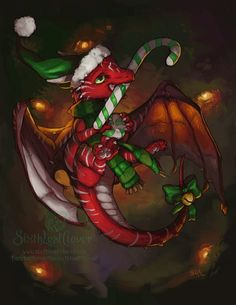 Christmas-Dragon by sixthleafclover Dragon Hatchling Egg Baby Babies Cute Funny Humor Fantasy Myth Mythical Mystical Legend Dragons Wings Sword Sorcery Magic Art Fairy Maiden Whimsy