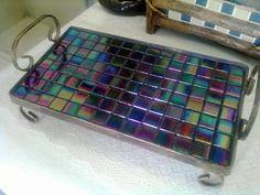 Bandeja de ferro com mosaico de pastilhas de vidro R$ 110,00