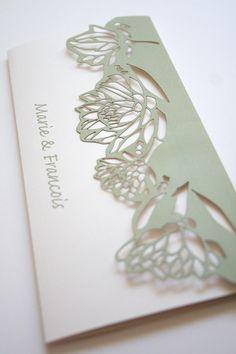 Lasercut Protea Pattern Wedding Invite by Mercia M Designs