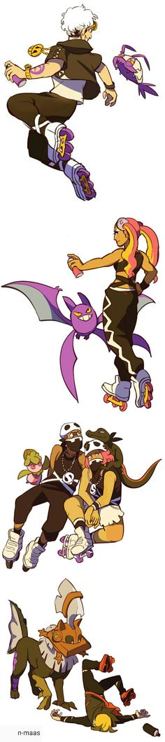 Guzma, Gladion, and team skull from Pokemon Sun and Moon  By n-maas on tumblr. do not remove this source!