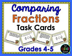 32 Comparing Fractions Task Cards. Half of these task cards are word problems (4th grade, 5th grade) These could be used to play SCOOT, in math centers, as a review, and more! Answer key and recording sheet included! $