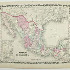 mexico antique map johnson 1863 mexico antique maps pinterest
