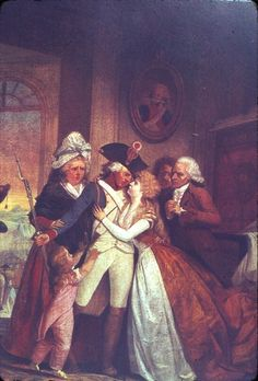 The Departure of the Volunteer by Watteau de L'Isle, c. 1792. A sentimental depiction of the patriotic sacrifice needed to save the Revolution from foreign invasion.