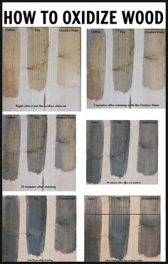 How to age and oxidize new wood to get that worn, gray barnwood look. Oxidize wood to give your furniture a weather gray look! Easy and inexpensive to make recipe using vinegar and steel wool! Furniture Projects, Diy Furniture, Diy Projects, Project Ideas, Woodworking Plans, Woodworking Projects, Aging Wood, Tea Stains, Diy Holz