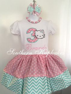 Girls Kitty Dress Twirl Birthday Custom Made Cat Hello Party Boutique Pageant All Sizes Ages 1st First 2nd Second 3rd Third Pastel Kawaii by SouthernKupkakes on Etsy