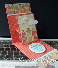 Love this example of using the Pop 'n Cuts base die to animate something larger. Fabulous new home card by Karen Aicken. Altered Scrapbooking: New House Card