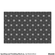"""Sparkling and Twinkling Black and White Optical 10"""" X 15"""" Tissue Paper"""