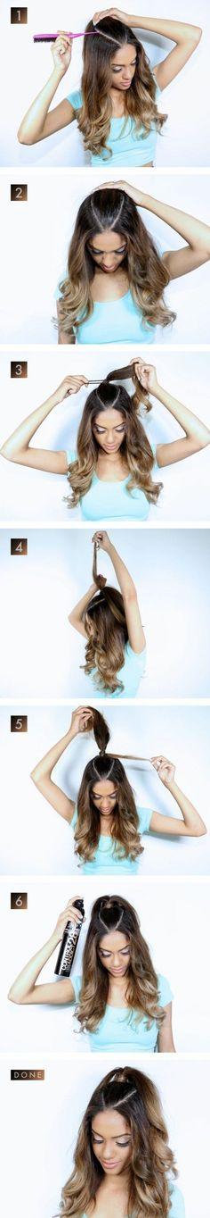 Makeup & Hair Ideas: demi-queue-tuto-coiffure-facile-pour-tous-les-jours