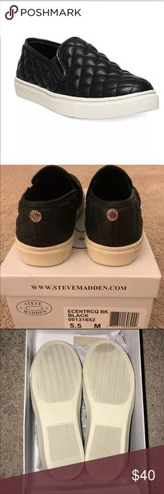 STEVE MADDEN Black Ecentrcq Slip On BNIB - purchased before Christmas without trying them on and they're a bit small :( .. can no longer return so, my mishap is your benefit.  Size 5.5   BUNDLE 2+ ITEMS & ILL PAY SHIPPING ! Steve Madden Shoes Flats & Loafers