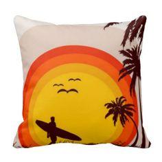 Sunset Beach Pillow #surf #beach