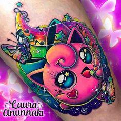 63 Amazing Pokémon Tattoos - Tattoo Insider - Pokemon Tattoo by Laura Anunnaki - Wicked Tattoos, Badass Tattoos, Body Art Tattoos, Print Tattoos, Cool Tattoos, Tatoos, Amazing Tattoos, Pikachu Tattoo, Juwel Tattoo
