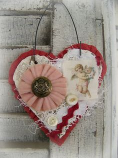 Handmade Valentine Vintage Valentine Ornament  Valentine Heart Collage Heart Ornament Shabby White Decor