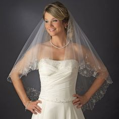 Two Layer Fingertip Length Bridal Wedding Veil with Beaded Embroidery | eBay