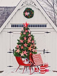 holiday, sleigh ride, red, xmas tree, white christmas, star, country christmas, christmas trees, outdoor christmas