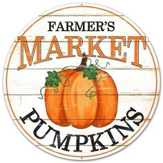 Pumpkin Sign, Farmers Market Pumpkin Sign, Round wreath sign, Metal Sign by CraftsnFlowers on Etsy Metal Pumpkins, Fall Pumpkins, Painted Pumpkins, Lemonade Sign, Farmers Market Sign, Wreath Supplies, Trendy Tree, Fall Signs, Home Decor Signs