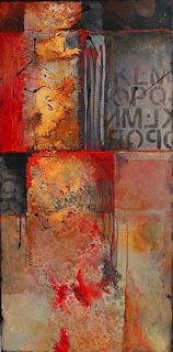 "Mixed Media Artists International: Abstract Mixed Media Art Painting ""Red Beneath 14023"" by Colorado Mixed Media Abstract Artist Carol Nelson"