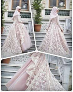 Stunning dress Love the lace layer Muslimah Wedding Dress, Muslim Wedding Dresses, Muslim Brides, Wedding Gowns, Hijab Look, Bridal Hijab, Mode Hijab, Ring Verlobung, Muslim Fashion
