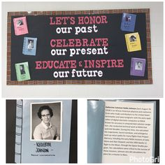 """Black History Month library bulletin board. """"Lets honor our past, Celebrate our present, Educate and Inspire our future."""" """"Books"""" around the outside featuring different African Americans."""