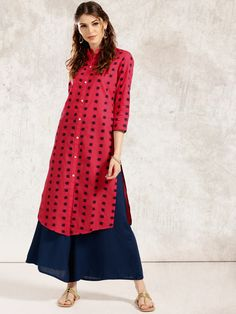 Anouk Red & Navy Blue Cotton Printed A-Line Kurta