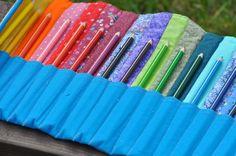 Rainbow Pencil Crayon Roll. $38.00, via Etsy.