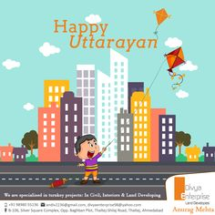 Happy Uttarayan! Don't Miss Relishing Undhiyu, Chikki and Tal Papdi ?  Kite Flying, Cool Winds, Kaata Kaata Noises, Loud Music, Manjha, Chikki, Til Papdi – We want you not to miss any of this. Let Uttarayan play its magic on every member of your family and load you with a bunch of happiness. Divya Enterprises wants its customers to enjoy and life life to the fullest, just like we do on Uttarayan.   #HappyUttarayan #LandDevelopers  #InteriorsDeveloping  #DivyaEnterprise