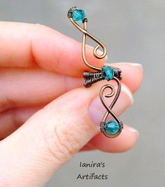 Elf ear cuff gunmetal and turquoise wire wrapped