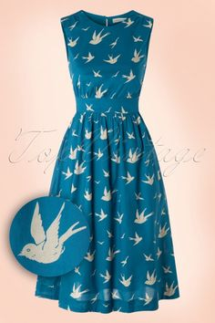 Emily and Fin ~ 50s Lucy Swallow Dress in Blue