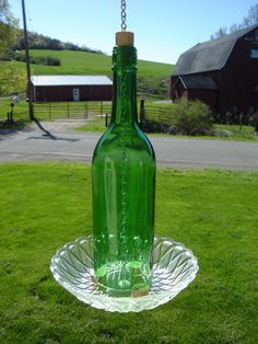 Wine Bottle Birdfeeder Repurposed Recycled by PieceAndContentment
