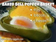Baked Bell Pepper Basket -- Cut a bell pepper in half, then fill with your favorite omelet ingredients & bake! FUN and tasty.
