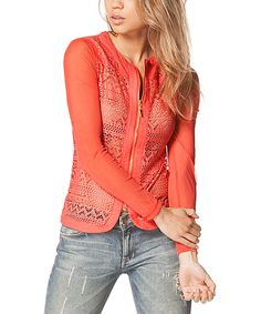 Another great find on #zulily! Carmin Coral Geometric Stripe Zip-Up Jacket by Carmin #zulilyfinds