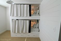 Great detail on how to create this - we'd leave the bottom open.  I love the curtain idea.  May modify it for the girls.
