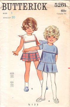 Butterick 5261 1960s Toddlers Sailor Collar Dress with Low Waist and Box Pleats vintage sewing pattern by mbchills