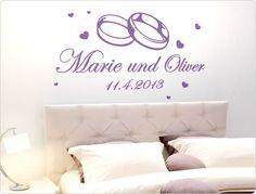 Hochzeits-Wandtattoo Wunschname, Datum und Eheringe