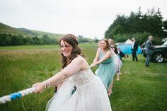 bride plays tug of war!