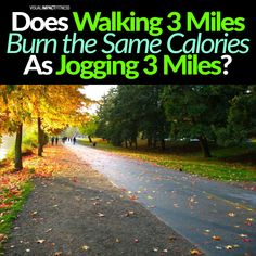 "How many calories does walking 3 miles burn? Jogging 3 miles? The truth is, it doesn't matter. That's right. Whether you're jogging or walking, you'll be burning the same amount of calories! I know what you're thinking... ""No way!"" But I'm here to tell ya that there are two major reasons why this is true. Firstly, when we walk our bodies move up and down whereas when we jog our body moves from side to side (i.e., alternate arm and leg). This means that even though one mile on a treadmill... Treadmill, Weight Loss Tips, How To Lose Weight Fast, Jogging, Bodies, Burns, Arm, Walking, Country Roads"