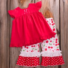 Lolly Wolly Doodle White Cherry Capris Red Flutter Top