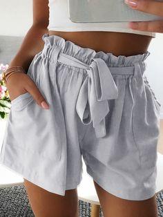 Grey Sashes Pockets High Waisted Fashion Shorts