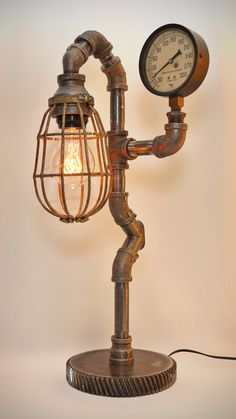 Iron Pipe Steampunk Industrial Lamp with Edison filament bulb and antique… Industrial Style Lighting, Pipe Lighting, Cool Lighting, Rustic Lamps, Antique Lamps, Deco Design, Lamp Design, Lampe Steampunk, Lampe Retro