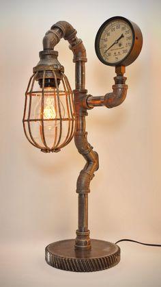 Iron Pipe Steampunk industrielle lampe avec par SteveGallagherLamps
