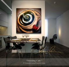 """Morning Cafe"" by wine artist © Leanne Laine Fine Art #coffeeart #coffeepainting"