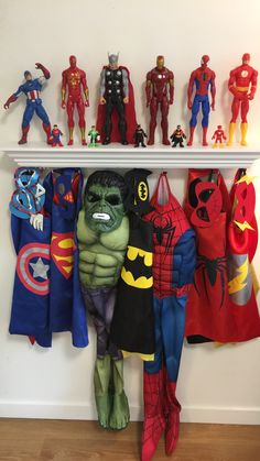 Superheroes boys room costumes action figures Spider-Man Batman Thor Ironman Flash Captain America Hulk Decor