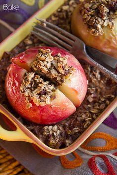 Baked Apples Stuffed with Cinnamon Date Pecan Oatmeal (ETL life plan b/c uses maple syrup)