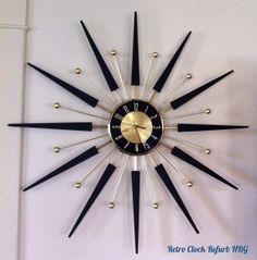 Restored Vintage Elgin Starburst / Sunburst by RetroClockRefurbHBG, $350.00 Modern Clock, Mid-century Modern, Movement Words, Sunburst Clock, Vintage Models, Wall Clocks, A Table, Restoration, Brass