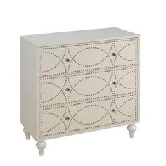 White Nailhead Three-Drawer Chest Dresser on Chairish.com