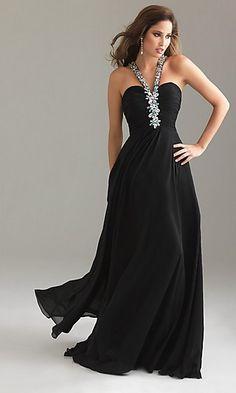 Long, black, chiffon dress