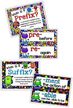 Classroom Freebies: Prefix and Suffix Mini Posters {Monster Theme}