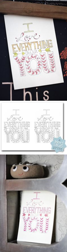 Love everything about you - free printable