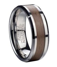 Tungsten Ring for Men with Red Beechwood and Beveled Edges | 8mm #weddingring #WeddingIdeasForMen