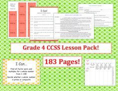 This lesson pack contains everything you will need to teach,   track,   and display the Common Core State Standards for Grade Four!   With   over  180 pages, it includes everything you would need to get started with the Common Core!